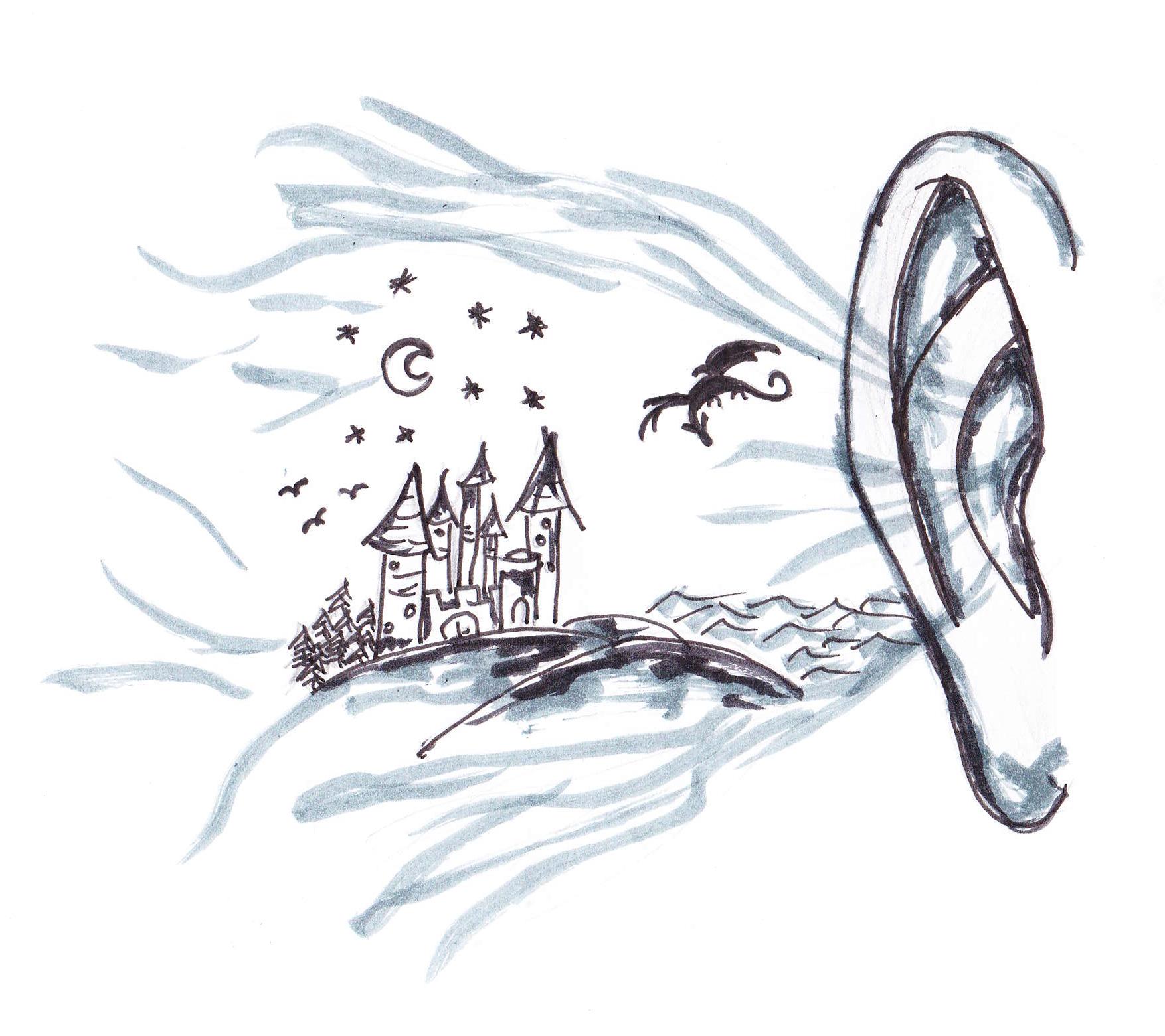 Die Graphik zeigt ein Ohr, das den Ausschnitt einer Fantasiewelt mit einem Schloss auf Hügeln, einem Sternenhimmel mit Halbmond und einem fliegenden Drachen wahrnimmt.